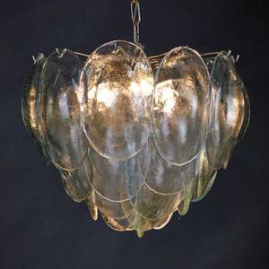 Camer chandelier italy 1960s molded glass and chromed steel 14 x 15 dia