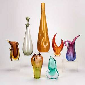 Rossini murano etc six vases in various colors shapes and sizes together with a decanter italy two marked largest 20 14