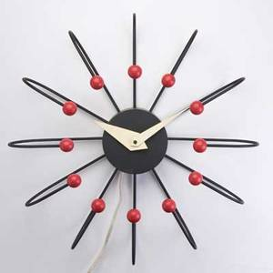Frederick weinberg wall clock usa 1950s enameled steel and lacquered wood unmarked 24 dia