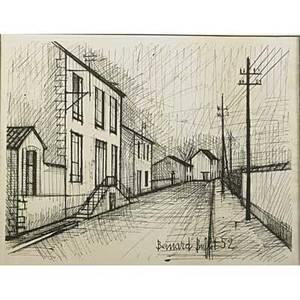 Bernard buffet french 19281999 lithograph of street scene 1952 framed signed and dated in print 11 14 x 14 34