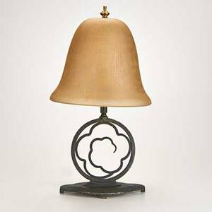 Crucet black enameled metal table lamp with amber glass shade ny 1930s marked 18 12 x 9 x 6