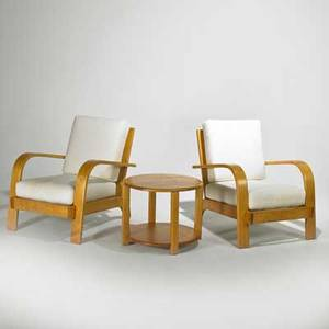Russel wright conant ball pair of lounge chairs and occasional table usa 1950s solid maple and upholstery branded and stenciled marks chairs 34 x 27 x 36 table 18 x 24 dia