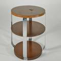 Modernage tiered occasional table usa 1930s chromed steel and walnut unmarked 29 12 x 24 12 dia