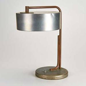 Kurt verson attr copper and aluminum table lamp unmarked 16 12 x 12 x 10 12