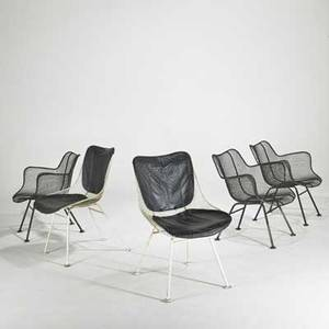 Russell woddard group of five sculptura chairs usa 1950s enameled ironand vinyl unmarked armchairs 28 x 27 x 26 side chairs 32 x 20 x 25
