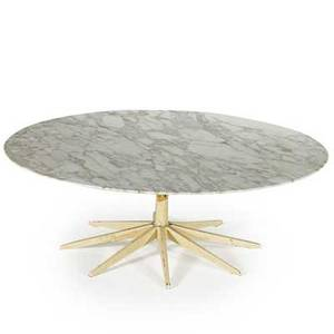 Richard schultz knoll associates coffee table new york 1950s painted metal and marble assembled fromknoll components unmarked 14 x 42 dia