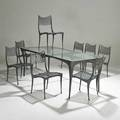 Dan johnson brown jordan dining table and eight chairs usa 1990s painted aluminum safety glass and upholstery not pictured unmarked dining table 29 x 77 12 x 35 12 chairs 32 x 18 1