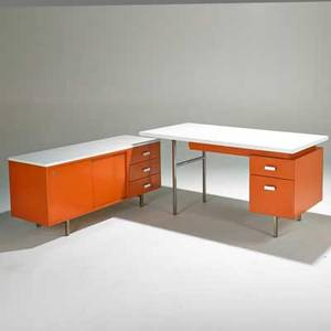 George nelson herman miller eog desk and cabinet usa 1960s enameled and zincplated steel polished aluminum and laminate metal labels desk 30 x 60 x 30  cabinet 25 x 54 x 19