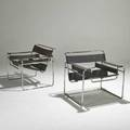Marcel breuer pair of wassily chairs 1960s stitched leather and chromed steel unmarked each 28 x 31 x 28