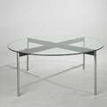 Ira grayboff custom dining table usa 1960s enameled and chromed steel and glass unmarked 26 12 x 66 14 dia