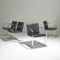 Mies van der rohe knoll set of four brno chairs germany 1980s stainless steel and leather unmarked each 31 12 x 22 34 x 23