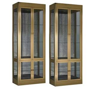 Mastercraft pair of illuminated vitrines usa 1990s brass antiqued mirror glass enameled wood brass labels 84 x 32 x 16
