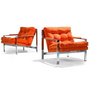 Milo baughman thayer coggin pair of flat bar lounge chairs usa 1970s chromed steel velvet unmarked 29 12 x 29 12 x 34
