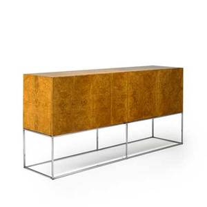 Milo baughman thayer coggin cabinet high point nc 1970s olive burl chromed steel unmarked 34 12 x 72 x 18 14