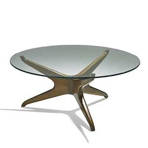 Vladimir kagan vladimir kagan designs inc trisymmetric coffee table new york 1970s sculpted walnut glass unmarked 15 12 x 36 dia