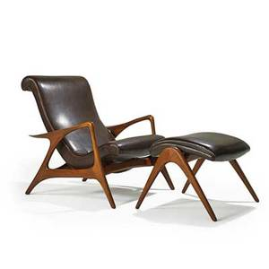 Vladimir kagan kagandreyfuss adjustable lounge chair and ottoman new york 1950s sculpted walnut recycled leather unmarked lounge as pictured 34 x 37 x 41 ottoman 17 12 x 20 x 21