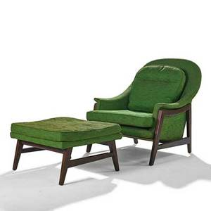 Edward wormley dunbar lounge chair and ottoman berne in 1960s stained and lacquered ash wool signed chair 33 12 x 31 12 x 36 ottoman 14 x 24 12 x 22 12