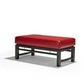 Edward wormley dunbar bench berne in 1960s stained and lacquered mahogany leather brass brass label 15 x 34 x 19