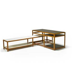 Edward wormley dunbar interlocking tables berne in 1960s laminated wood ash lower table with brass label 23 x 53 x 23 and 14 12 x 86 x 16