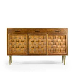Edward wormley dunbar wovenfront cabinet berne in 1950s bleached mahogany brass brass label 38 x 61 12 x 18 14