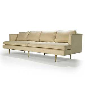 Edward wormley dunbar sofa no 4907a berne in 1950s upholstery brass unmarked 32 12 x 109 x 36