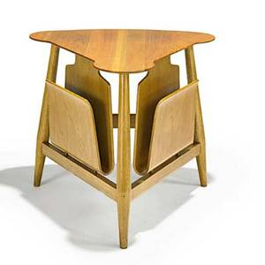 Edward wormley dunbar magazine table berne in 1940s sap walnut bleached mahogany brass painted metal label 22 x 25 x 25 12