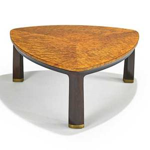 Edward wormley dunbar coffee table no 6129 berne in 1960s carpathian elm stained walnut brass manufacturers labels 14 14 x 33 x 33