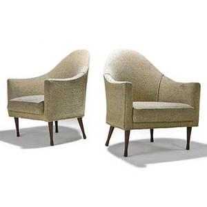 Paul mccobb paul mccobb widdicomb pair of symmetric lounge chairs grand rapids mi 1950s walnut upholstery unmarked 33 12 x 29 x 28 12