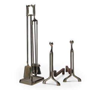 Virginia metals pair of chromed steel andirons and set of four fire tools on stand usa 1970s raised manufacturers initials and numbers fire tools on stand 33 34 x 9 x 7 andirons 18 x 8