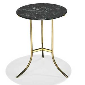 Cedric hartman side table omaha ne 1990s brass chromed steel marble stamped signature 23 x 17 dia