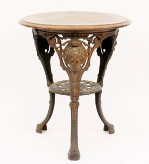 Late 19th C English Cast Iron Pub Table