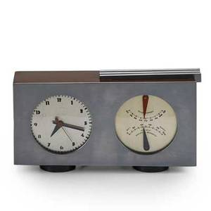 Gilbert rohde herman miller clock co barometer clock no 6381 usa 1930s nickelplated metal rosewood ebony unmarked 5 12 x 10 12 x 2 12