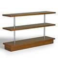 Gilbert rohde herman miller tiered sofa table zeeland mi 1940s mahogany chromeplated steel unmarked 29 14 x 48 x 13