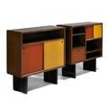 Escande two cabinets france ca 1950 oak dyed ash enameled steel unmarked 36 x 35 14 x 13 34