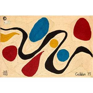 After alexander calder 18981976 bon art jute fiber tapestry turquoise nicaragua 1975 embroidered copyright mark 40100 calder 75 cloth tag 56 x 84