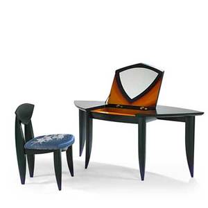 Wendy maruyama vanity and chair san diego ca 1993 enameled wood mirrored glass signed and dated vanity 29 x 71 x 33 chair 34 x 22 sq