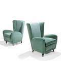 Paolo buffa pair of lounge chairs italy ca 1950 walnut velvet unmarked 35 x 27 x 31 provenance hotel bristol merano italy