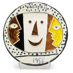 After pablo picasso madoura large glazed ceramic charger vallauris france designed 1956 stamped madoura plein feu empreinte originale de picasso incised c 103 numbered 9100 1 14 x 16 1