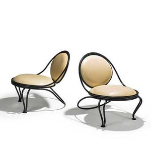 Mathieu mategot ateliers mategot pair of copacabana lounge chairs france 1950s enameled iron leather unmarked 30 x 25 x 30