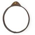 Jacques adnet wallhanging mirror france 1940s stitched leather mirrored glass brass unmarked 18 12 x 16 12 x 1 34