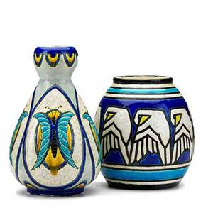 Charles catteau boch freres two crackleware vases belgium 1920s bird vase with blue boch freres stampch catteau other vase with black bfk stamp taller 9 12 x 6