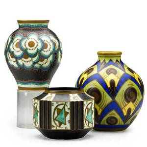 Charles catteau boch freres three mattepainted vessels belgium ca 1920 green vase with yellow keramis wolf stamp black vase with blue keramis wolf stamp and geometric vessel with blue keramis
