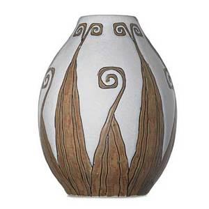 Charles catteau boch freres keramis glazed stoneware vase with stylized organic pattern belgium 1920s black boch freres stamp ch catteau gres keramis d775901c 9 x 6 12