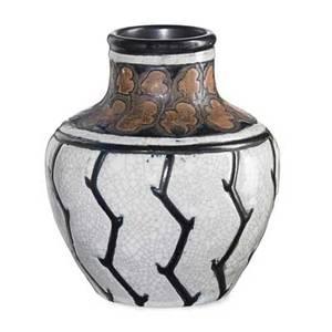 Charles catteau boch freres keramis glazed stoneware vase with oak leaves belgium 1920s blue boch freres stamp ch catteau gres keramis 903cd776 6 x 5 12