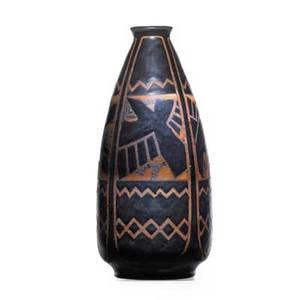 Charles catteau boch freres keramis glazed stoneware vase with stylized ravens belgium 1920s black boch freres stamp ch catteau gres keramis d1009898 11 12 x 5