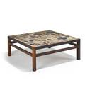 Tue poulsen willy beck tiletop coffee table denmark 1960s rosewood glazed earthenware artist signature to tile 15 34 x 40 sq