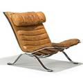 Arne norell aneby ari lounge chair sweden 1960s leather chromed steel unmarked 30 x 25 12 x 39