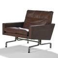 Poul kjaerholm e kold christensen lounge chair pk 311 denmark 1950s mattechromed steel leather plastic stamped signature 27 12 x 30 x 30