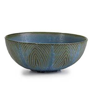 Axel salto royal copenhagen glazed stoneware bowl herringbone pattern denmark 1960s incised salto wavy lines 46 2 14 x 5 12