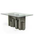 Paul evans directional cityscape dining table usa 1970s patinated steel glass signed base only 28 14 x 49 14 x 19 overall 29 x 60 x 42
